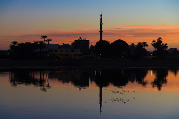 sunrise at Edfu, Nile River, Egypt