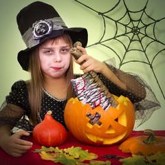 Halloween, little witch, pumpkin carving