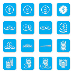 Money coin icon set. Blue square shape. Vector Illustration