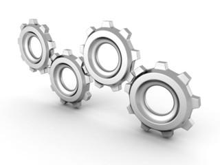 set of working connected metallic cogwheel gears