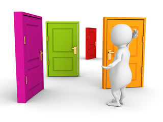 3d man makes difficult choice with colorful doors