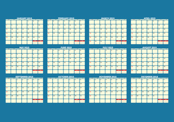 Simple 2015 Calendar - week starts with sunday