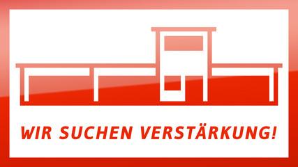 fs14 FactorySign - Wir suchen Verstärkung - rot g1825 - 16 zu 9