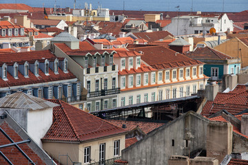 Rooftops of Lisbon in Portugal.
