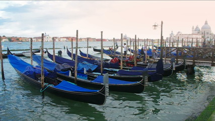 Venice with gondolas on Grand Canal.