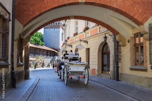 obraz lub plakat Bryczką na streetin Pijarskiej Kraków, Poland