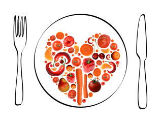 Herz aus Obst und Gemüse