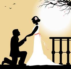 sposo in ginocchio si dichiara alla sposa
