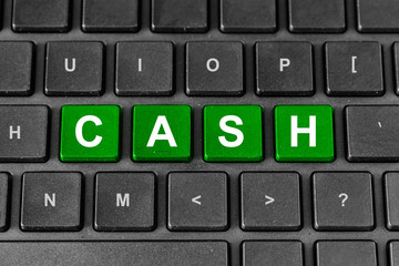 financial cash word on keyboard