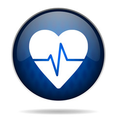 heart pulse internet blue icon