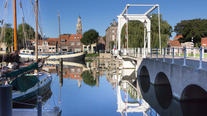 Old historic harbor of Enkhuizen Holland