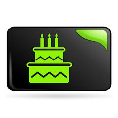 anniversaire et gateau sur bouton web rectangle vert