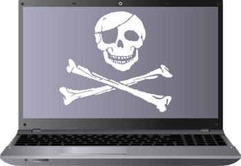 laptop i czaszka piracka