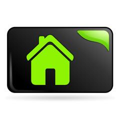 maison sur bouton web rectangle vert