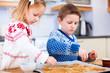Kids baking cookies