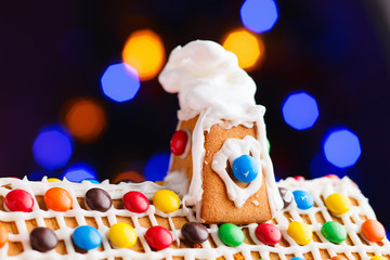 Closeup of gingerbread house roof