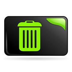poubelle sur bouton web rectangle vert