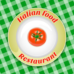 Plate with title and tomato
