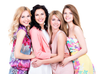 Group young beautiful smiling women.