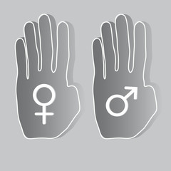 Hands with gender symbols