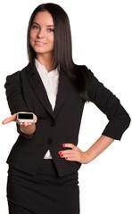 Beautiful women in suit showing smart phone