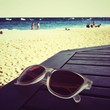 canvas print picture - sunglasses on the beach