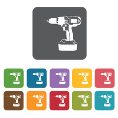 Drill building icon. Building and construction and home repair t