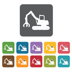 Crane truck building icon. Building and construction and home re