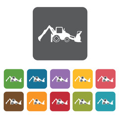 Bulldozer building icon. Building and construction and home repa