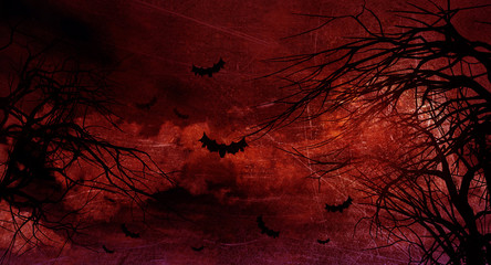 Grunge Halloween background with spooky trees