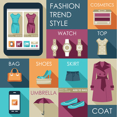 Set of flat design fashion icon