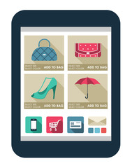 Online shop on the tablet screen. vector illustration