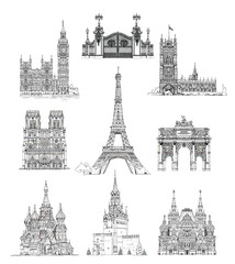 Famous buildings of London, Paris and Moscow, sketch collection