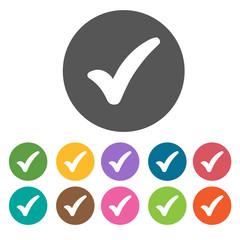 Fat check icon. Check Mark Sign Symbol icon set. Round colourful