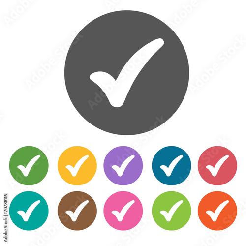 Fat Check Icon Check Mark Sign Symbol Icon Set Round Colourful