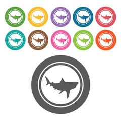 Shark attack icon. Danger icon set. Round colourful 12 buttons.