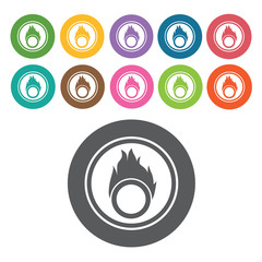 Fire icon. Danger icon set. Round colourful 12 buttons. Vector i
