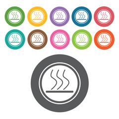 Slippery road icon. Danger icon set. Round colourful 12 buttons.