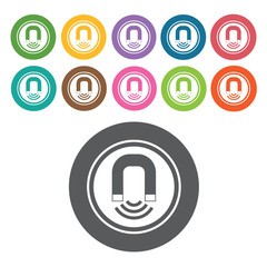 Magnet icon. Danger icon set. Round colourful 12 buttons. Vector
