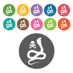 Snake poison icon. Danger icon set. Round colourful 12 buttons.