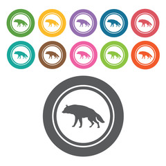 Wolf icon. Danger icon set. Round colourful 12 buttons. Vector i