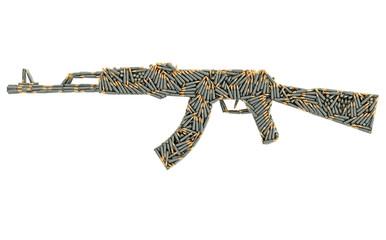 Assault rifle shape composed of ammunition cartridges