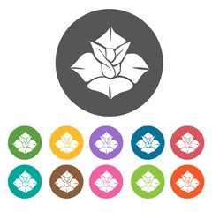 Western Lotus icon. Flower icon set. Round  colourful 12 buttons