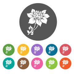 Sunflower icon. Flower icon set. Round  colourful 12 buttons. Ve