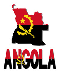 Angola map flag and text illustration