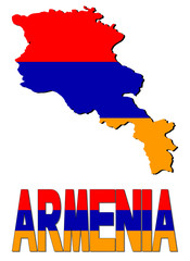 Armenia map flag and text illustration