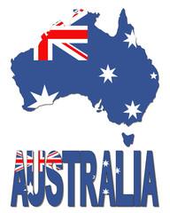 Australia map flag and text illustration
