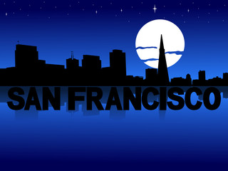 San Francisco skyline reflected with text and moon illustration