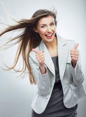 Business woman portrait. Thumb up.