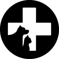 black round veterinary care icon